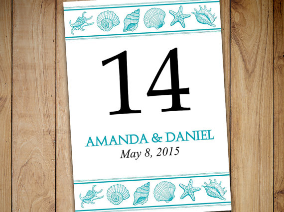 Beach Wedding Table Number Template Download Seashell Printable