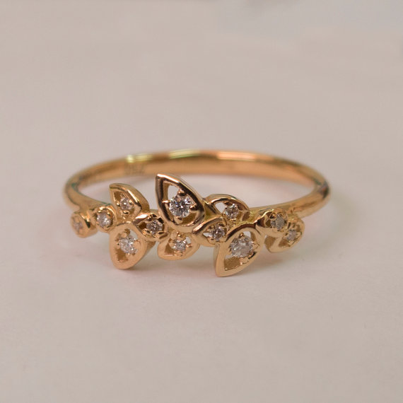 Leaves Engagement Ring 14K Rose Gold And Diamond Engagement Ring Engagemen