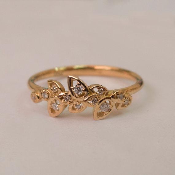 Mariage - Leaves Engagement Ring  - 14K Rose Gold and Diamond engagement ring, engagement ring, leaf ring, filigree, antique, art nouveau, vintage