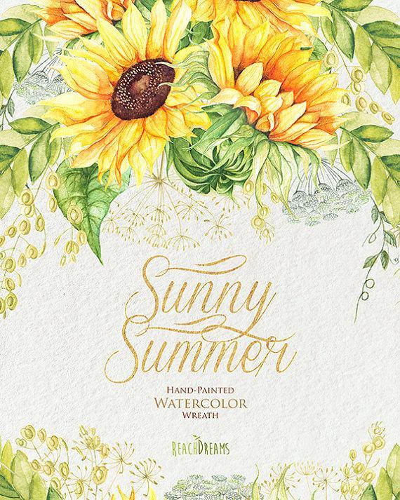 Mariage - Watercolor Wreath Sunflower with Wild Herbs. Bohemian Boho Flowers. Hand Painted Wedding Wreath. Digital DIY invitations. Greeting card