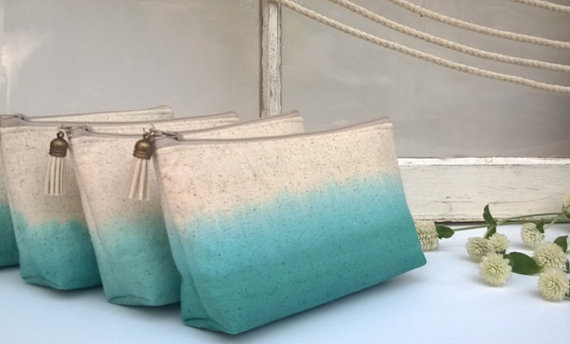 Mariage - Teal Ombre Clutch Purses, Bridesmaid Gifts, Wedding Clutches, Bohemian - Set of 8 PLUS FREE GIFT