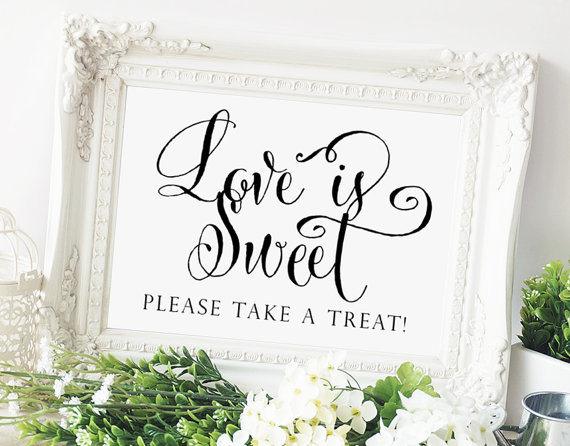 "Mariage - Love is Sweet Sign - 5 x 7 sign - DIY Printable sign in ""Bella"" black - PDF and JPG files - Instant Download"
