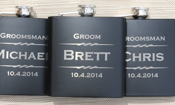 Wedding Gift Ideas For Bestman And Ushers: 3 Personalized Flasks, Gifts For Groomsmen, Custom