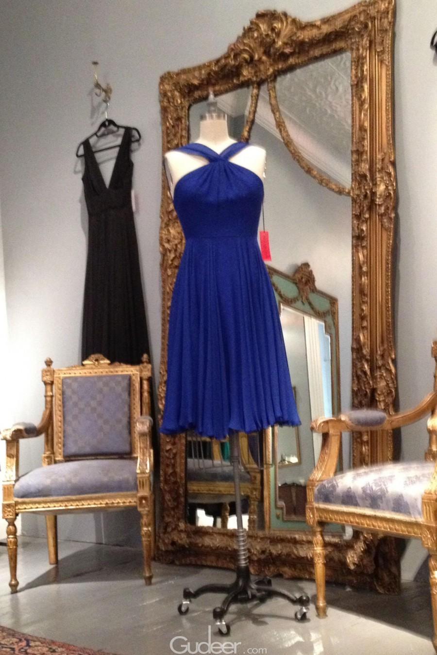 Wedding - Blue X Strap Pleated Short Chiffon Bridesmaid Dress