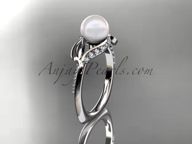 Wedding - 14kt white gold diamond pearl unique engagement ring AP225