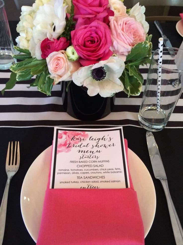 Black White Pink Gold Bridal Wedding Shower Party Ideas 2341113