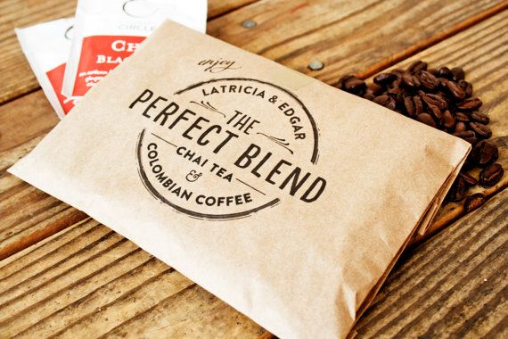 Wedding Favor Coffee Bag - The Perfect Blend Circle Stamp Design ...