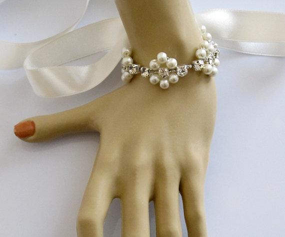 Wedding Bracelet, Bridal Jewelry, Rhinestone And Pearl