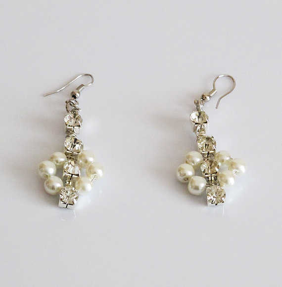 Nozze - Pearl Bridal Earrings, Pearl Wedding Earrings, Pearl rhinestone Earrings, bridal earrings, Wedding Jewellery, Bridal Jewelry