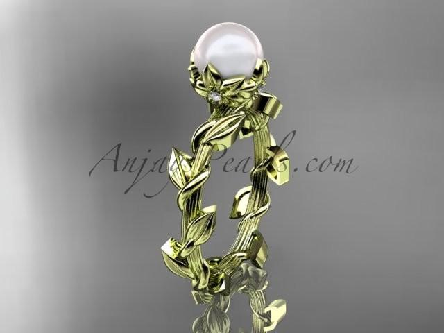 Wedding - Unique 14kt yellow gold diamond pearl leaf and vine engagement ring AP248