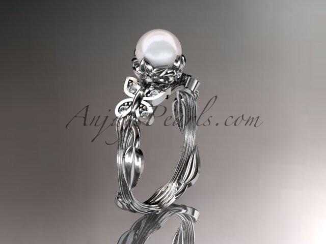 Wedding - 14kt white gold diamond pearl leaf and vine engagement ring AP251