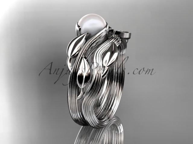 Свадьба - Platinum pearl leaf and vine engagement set AP273S