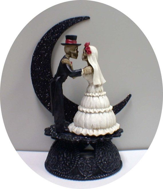 Wedding - Day Of The DEAD Halloween Wedding Cake Topper Funny Skeleton Bride Groom Top