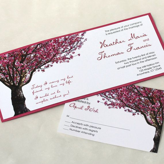 Hochzeit - Cherry Blossom Tree Wedding Invitation, Spring Wedding Invitation, Pink Wedding Invitation, SAMPLE