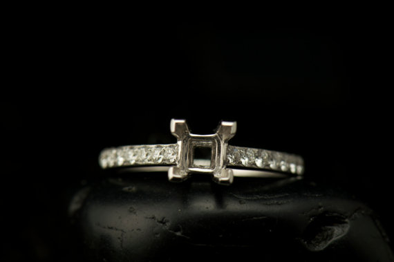 Mariage - Abby- Diamond  Engagement Ring - (Semi Mount for 5.mmx5mm precess Cut Center Stone)