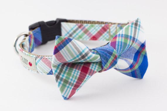 زفاف - Blue Plaid Dog Bow Tie Collar