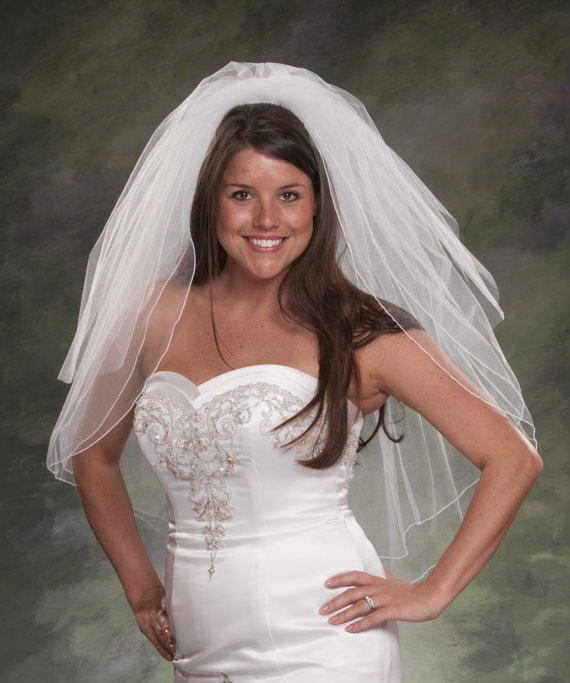 Mariage - Traditional Bridal Veil White Two Layers 32 Pencil Edge with Plain Cut Blusher 24 Ivory Wedding Head Piece Elbow