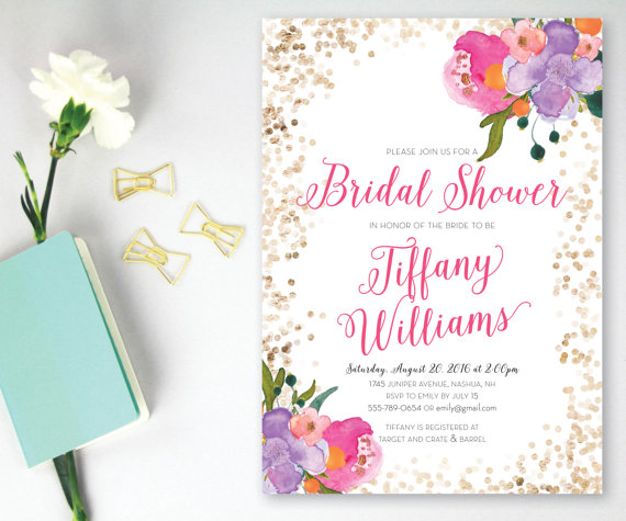 printable bridal shower invitation pink and gold glitter bridal shower watercolor floral bridal shower invitation customizable any event