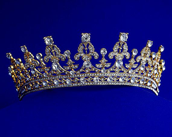 تيجان ملكية  امبراطورية فاخرة Swirling-crystal-tiara-princess-wedding-crown-royal-crystal-bridal-tiara-rhinestone-bridal-headbandbridal-crown-floral-tiara-gold