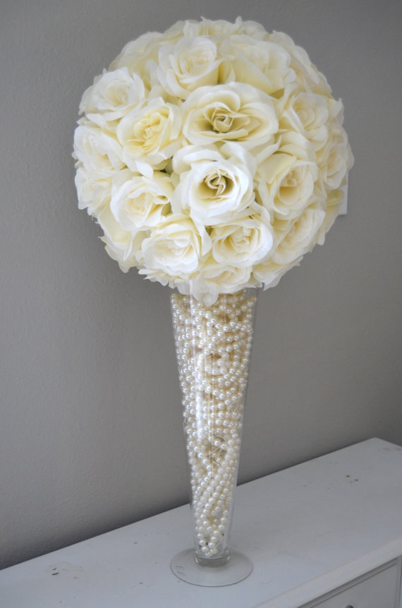 Premium Soft Silk Ivory Cream Flower Ball Wedding Centerpiece