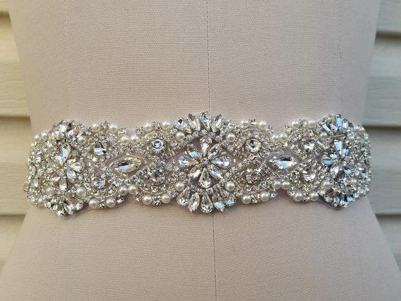 Mariage - Rhinestones and pearls sash, bridal sash, wedding dress sash