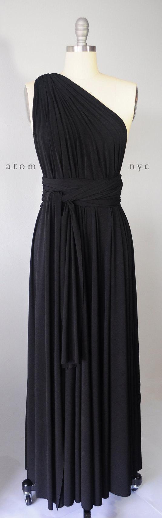 Свадьба - Black Long Maxi Infinity Dress Gown Convertible Formal Multiway Wrap Dress Bridesmaid Dress Evening Dress Toga Dress