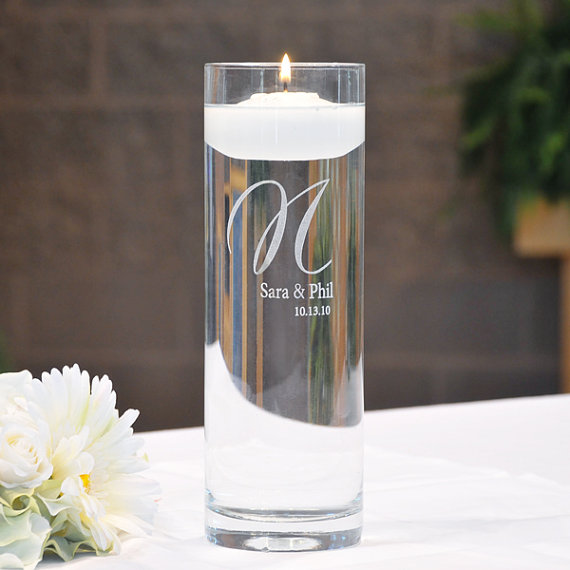 """Mariage - Personalized """"Cylinder Memorial Floating Candle"""""""