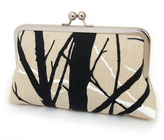 Mariage - SALE - tree silhouette clutch, woodland purse, wedding, bridesmaid, birthday gift, black and taupe trees