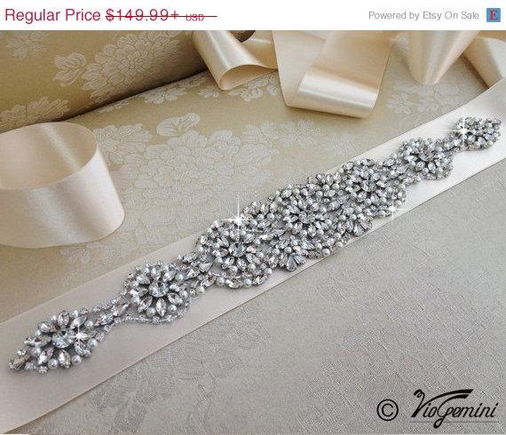 Mariage - 20% OFF Wedding Sash, Rhinestones Wedding Belt, Crystal Bridal Sash, Jeweled Wedding Sash, Rhinestone Bridal Sash Belt