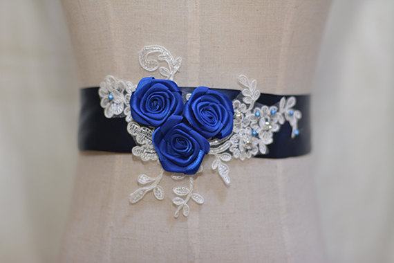 Mariage - navy blue bridal sash, wedding sash, bridal belt, wedding belt, white flower sash,,off-white lace sash,beaded sash.rhinestone belt