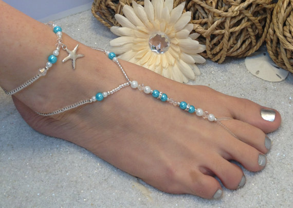 Mariage - Starfish Foot Jewelry Wedding Barefoot Sandal and Anklet, Pearl and Rhinestone