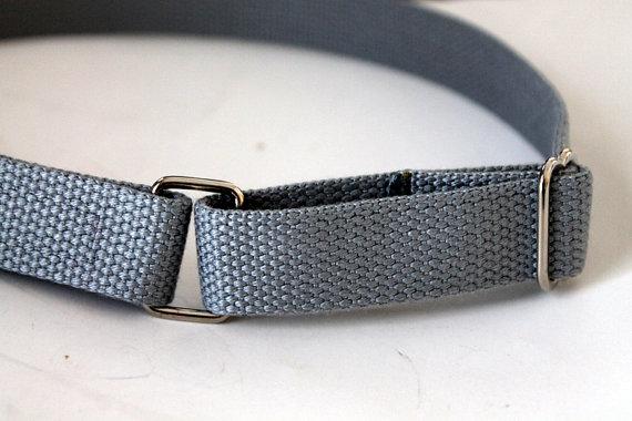 Mariage - Boys Belt Solid Grey Velcro  D Ring Webbing Belt