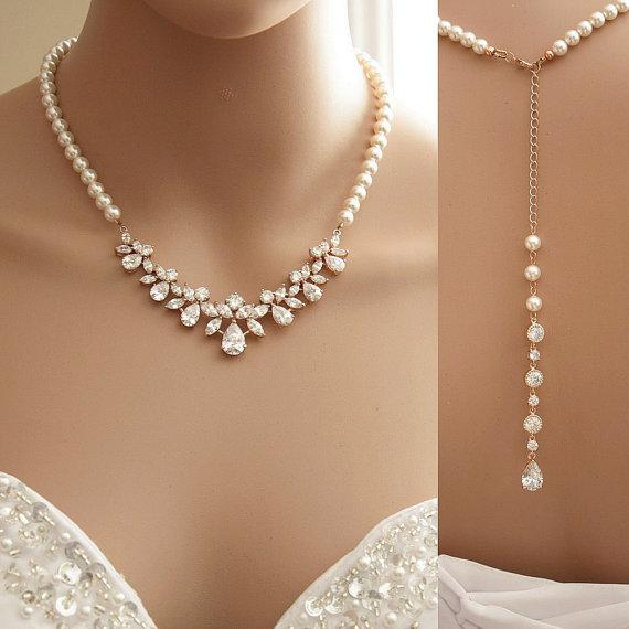 Mariage - Rose Gold Backdrop Necklace, Bridal Backdrop Necklace, Crystal and Pearl Wedding Necklace, Wedding Back Drop Necklace Bridal Jewelry