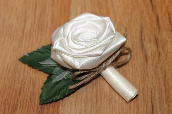 Wedding - Rustic Theme Single Rose Boutonniere, Ivory, Groom Boutonniere, Groom Button Hole, Ivory Buttonhole