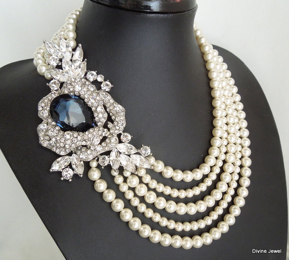 Mariage - Bridal Pearl Necklace, Ivory or White Pearls, Statement Bridal Necklace,Something Blue Necklace, Wedding Pearl Necklace,Pearl, MIRANDA