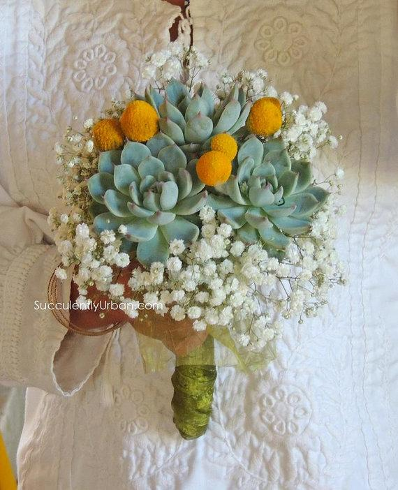 Mariage - Set of Triple succulent bouquet and matching boutonniere