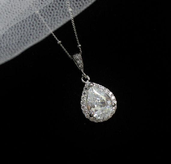 Mariage - Teardrop Crystal Bridal Necklace, Crystal Pendant  Necklace, Bridesmaids Crystal Necklace, Bridal Jewelry, Wedding Jewelry, FELICITY