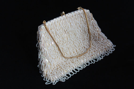 Wedding - WHITE Wedding Sequins 60's MOD HANDBAG Retro Beaded Bling Clutch Purse gold-toned clasp - strap bag Woman Everyday to Evening Glam Accessory