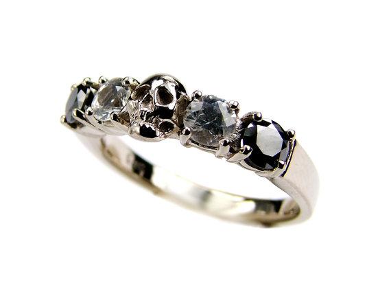 Свадьба - White Gold Skull Wedding Set Ring Black Diamond White Sapphire White Gold Engagement Ring Goth Psychobilly Wedding Band Jewel Ring All Sizes