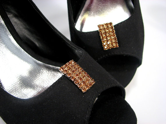 Mariage - Shoe Clips Copper Auburn Color Rhinestones Shoe Accessories Upcycled