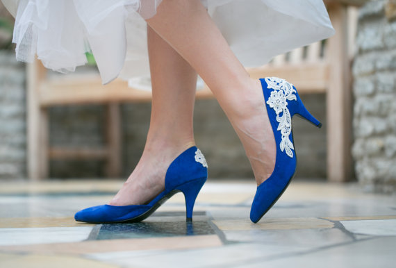 Mariage - Wedding Heels  - Cobalt Blue Wedding Shoes, Bridal Shoes, Blue Heels, Lace Heels with Ivory Lace. US Size 7.5