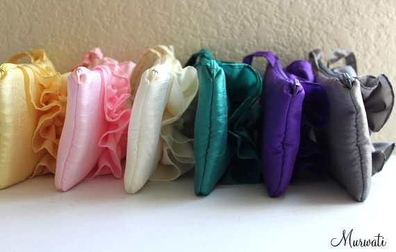 Wedding - A set of 6 Custom Bridesmaids Clutches/ Fairy Tale Wedding/ Ruffle Wristlets/ Yellow Pink Ivory Green Purple And More