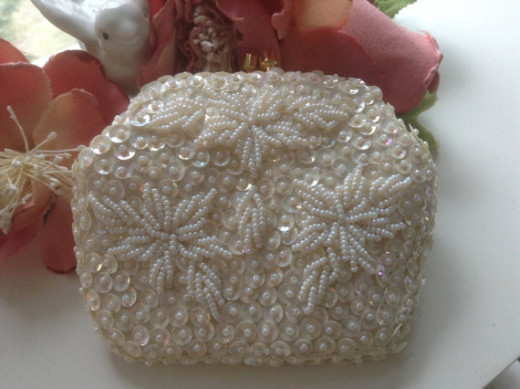 Wedding - Vintage White Beaded Purse NEW Bridal Prom Evening Clutch Aurora Borealis Sequins Satin Madenoiselle Hong Kong Accessory Wedding Floral