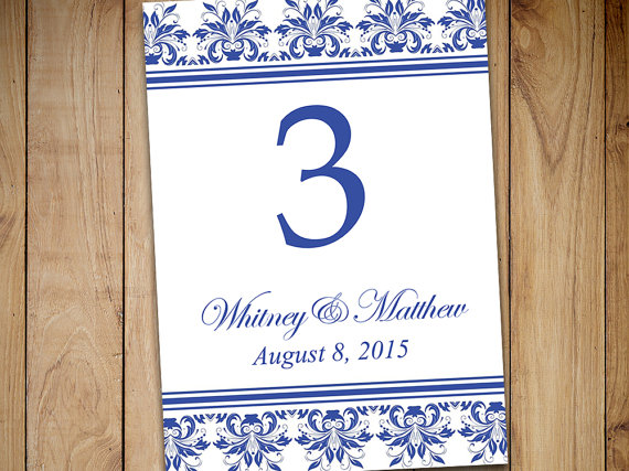 """Mariage - Damask Wedding Table Number Template Download - Printable Wedding """"Anna"""" Adriatic Blue DIY Wedding Table Card 5x7 Table Number Template"""