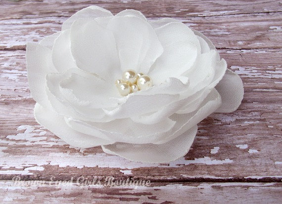 Wedding - Ivory Bridal Flower Hair Clip, Ivory Wedding Hair Accessory