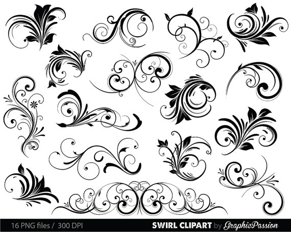 Wedding - Swirls Clipart Digital Swirls Clip Art Vector Swirls Photoshop Brushes Digital Scrapbooking Wedding Invitations Flourish Floral Silhouette
