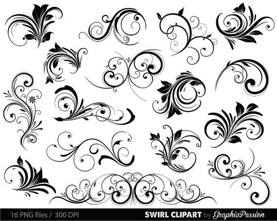 زفاف - Swirls Clipart Digital Swirls Clip Art Vector Swirls Photoshop Brushes Digital Scrapbooking Wedding Invitations Flourish Floral Silhouette