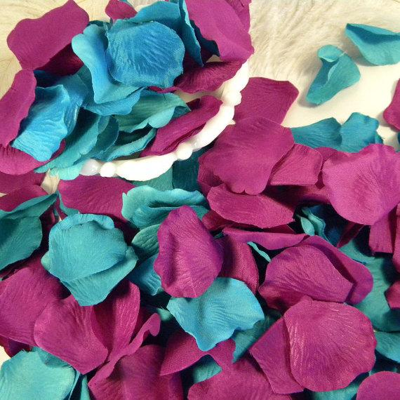200 Rose Petals Artifical Petals Shades Of Teal Blue Green And