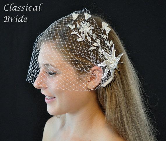 زفاف - Bandeau 70 -- Veil Set w/ SILVER RHINESTONE FLOWER Hair Comb & Ivory or White Birdcage Blusher 9 Inch Veil for wedding bridal accessory
