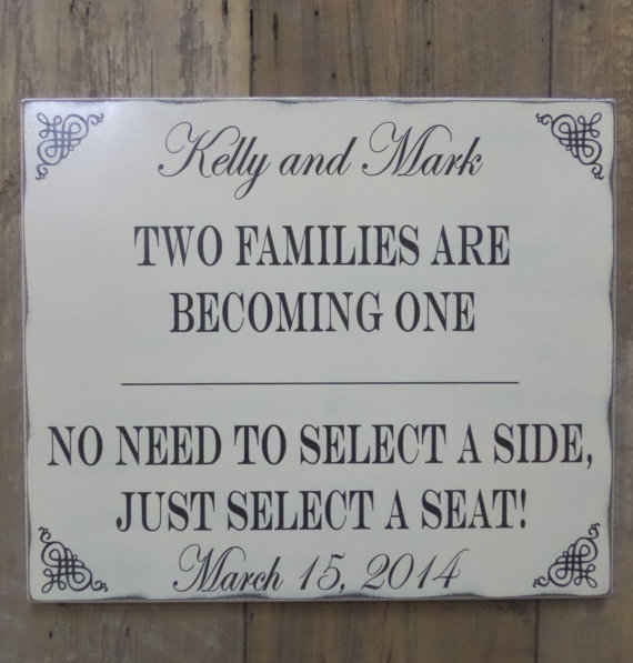 Wedding - Wedding sign, Two Families are Becoming One, Pick a Seat not a Side Sign, Personalized wedding sign, Custom wedding sign